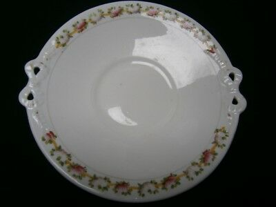 Handpainted  Antique Rose Porcelain Cake Plate - Impressed Mark Rqs & Co