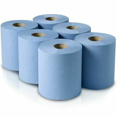 Blue Paper Rolls - 2 Ply Embossed Centre Feed - Hand Towel Tissue Rolls Multiuse