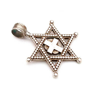Antique ETHIOPIA star of David KING SOLOMON'S Silver gilt pendant 1930s