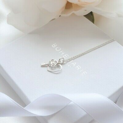 Sterling Silver Heart And Key Charm Necklace Boho Dainty Layering Jewellery 925