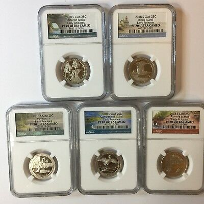 2018-S Ngc Pf70 (5) Coin Clad Proof Quarter Set Atb .25 Early Releases Pf 70