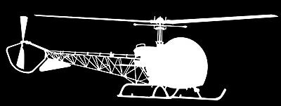 BELL 47 HELICOPTER - Adhesive Computer Cut Vinyl Decal, Last over 6 years