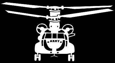 CHINOOK CH 47 HELICOPTER - Adhesive Computer Cut Vinyl Decal, Last over 6 years