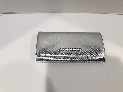 7e65f04581f6 NWT Michael Kors Clutch Wallet Snake Embossed Leather Metallic Silver  228