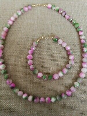 Vtg NATURAL Persian green & pink Jade beaded NECKLACE set solid 9ct gold clasp