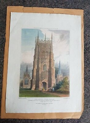 19th century hand coloured engraving The Abbots Tower EVESHAM
