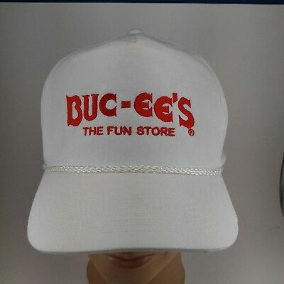 886803e3 VINTAGE BUC-EE'S THE Fun Store Hat Cap Rope Snapback white red spell out  letters