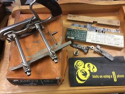 VINTAGE STANLEY No 50 COMBINATION PLOUGH PLANE WITH SET OF CUTTERS AS FOUND