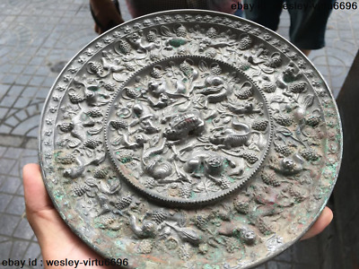 Mythical Chinese Royal Pure Bronze Foo Dog Lion Monkey Beast bird Bronze Mirror