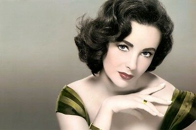 """Elizabeth Taylor Hollywood Actress Lot Of Ten 4X6"""" Hand Color Tinted Photographs"""