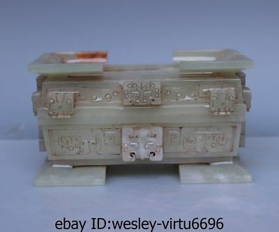 Chinese Natural Old He Tian White Jade Nephrite Carved Brush Washer Jade Box AL1