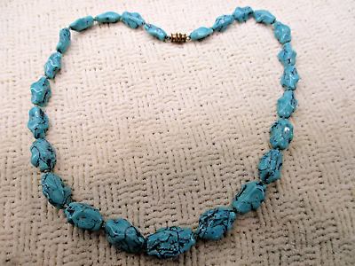 RARE QUALITY BLUE TURQUOISE NECKLACE 57.9g HIGH END VTG ANTIQUE ESTATE JEWELRY