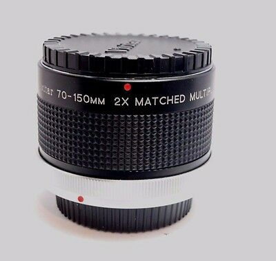 Vivitar 70-150mm Matched 2X Lens Multiplier Canon FD Telephoto Teleconverter