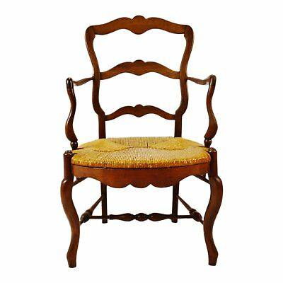 Vintage Ladder Back Rush Seat Arm Chair