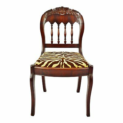 Vintage Victorian Style Side Chair with Animal Print Cushion