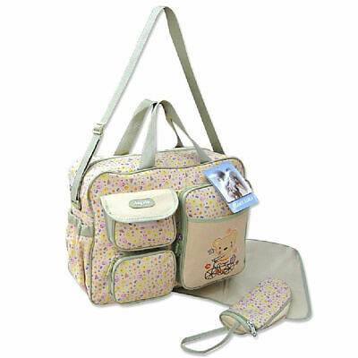 Large 3PCs Baby Nappy Diaper Changing Bags Beige Bear with Purple Flower 91351