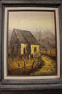 Antique William Newport oil on canvas farmhouse barn 1920's Beautiful and clean