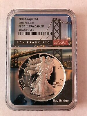 2018-S Proof $1 American Silver Eagle NGC PF70UC ER San Francisco Core