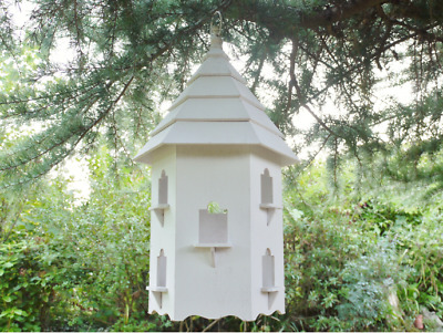 Rustic Wooden Nesting Nest Box Bird House Birds Feeder WHITE Tit Wren Boxes