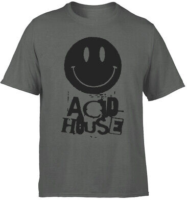 ACID HOUSE t-shirt, Mens grey charcoal. Music, retro,rave, 80's 90's DANCE