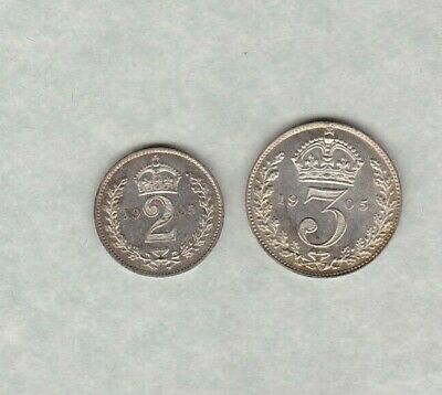 1905 Edward Vii Maundy Silver Three Pence & Two Pence In Mint Condition