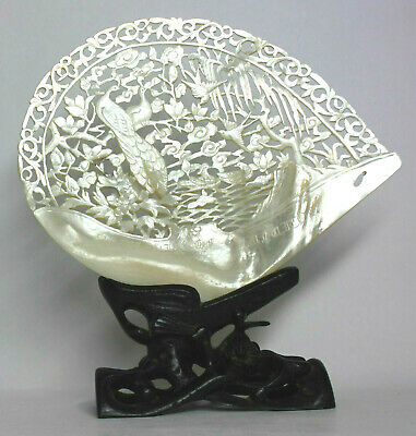 Antique Carved CHINESE MOTHER OF PEARL SHELL Birds Motif w/ WOOD STAND/ LUHUITOU