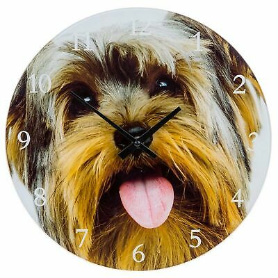 Visage Glass Clock Small Yorkie Terrier Wall Gift Homeware Giftware Dog Animal
