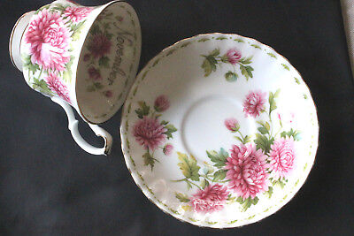 NOVEMBER  ROYAL ALBERT tea cup saucer bone china  pink Flower Chrysanthemum