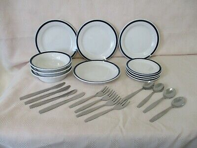 Children's Ceramic Crockery & Metal Cutlery To Use Or For Play Ikea White & Blue