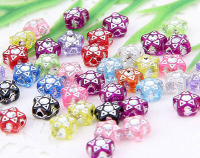 Free Ship 200pcs  Five Star Mixed  Acrylic Plastic Spacer Beads Charms 7x4mm