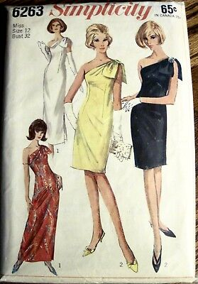 Vtg 1965 Simplicity One Shoulder Drape Slim Cocktail Dress 2 Lengths Pattern S12