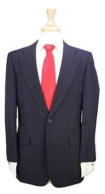 * PAUL STUART * Japan Navy Blue Pinstripe 2-Btn Luxury Wool Suit 38S