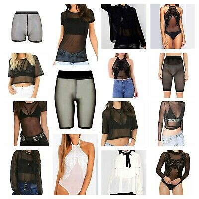 Womens Ladies Mesh Fishnet Oversized Baggy Cropped Long Sleeve Top Sexy Bodysuit