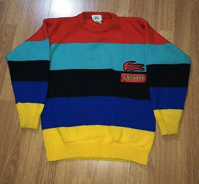 Vintage Izod Lacoste Acrylic Sweater Youth M Medium 12-14 Multi Color Striped