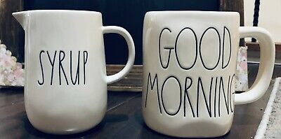 "Rae dunn LL ""SYRUP"" Pitcher & ""GOOD MORNING"" Mug New"