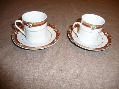 Porcelain Treasures Coffee or Tea Red White Gold 2 Cups 2 Saucers Gold Trim