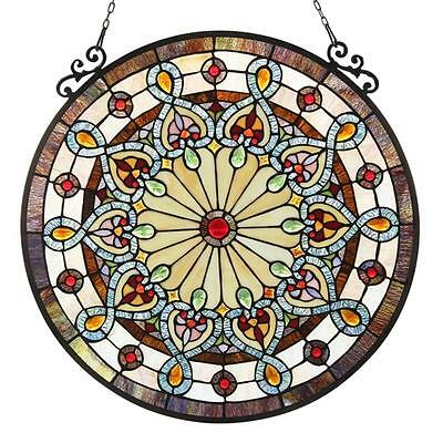 """Stained Glass Chloe Lighting Victorian Window Panel 23.5"""" Diameter Handcrafted"""