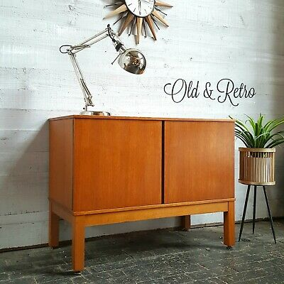 VINTAGE RETRO TEAK record cabinet TV MEDIA UNIT, Danish G plan era, mid century