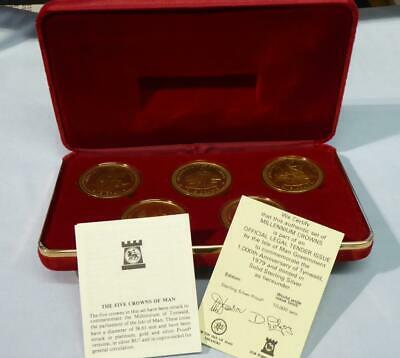 1979 Set  5 Crowns Of Isle Of Man Sterling Silver Proofs Original Box & Certific