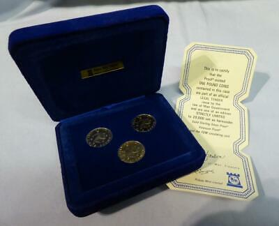 1979 3 Coin Set Isle Of Man Proof £1 Coins Incl Silver & Virenium Box & Cert