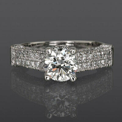 14K White Gold 2.08 Ct Diamond Round Ring Accents 4 Prong Anniversary Size 6 7 8