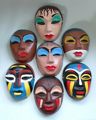 1960's CHINA BEIJING CHINESE OPERA Woman Masks Mask set of 7 Paper Mache