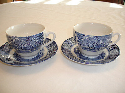 STAFFORDSHIRE LIBERTY BLUE China Cups and Saucers Set of 2 Excellent