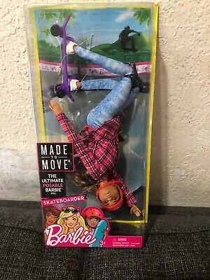 Mattel Barbie Made to Move Skateboarder Doll - Brand New
