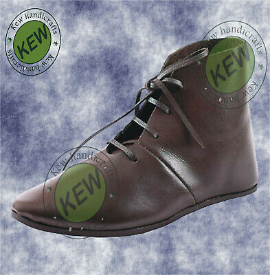 Men's Medieval Leather Shoe Middle Ages Ankle Boots with roman