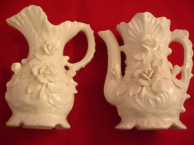 """Pair Solid White Glass Pitcher Vases Sculpted Roses 6"""" Tall Estate Find"""