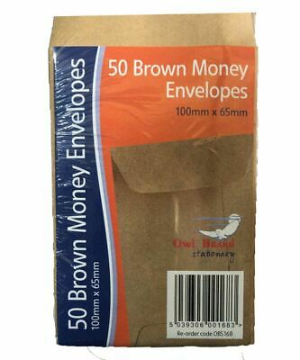 Small Brown Money Envelopes 100 x 65mm School Dinner Money Wages Cash Envelopes