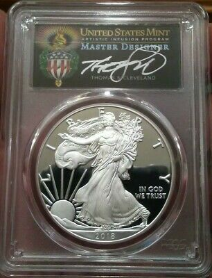 2018 S Proof Silver Eagle Pcgs Pr70 Cleveland Torch First Day Wash Dc Fdoi Pop25