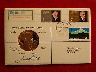 Nuphil Nu47, 1971 NZ Lord Rutherford FDC w/ James Berry Autograph, only 87 made