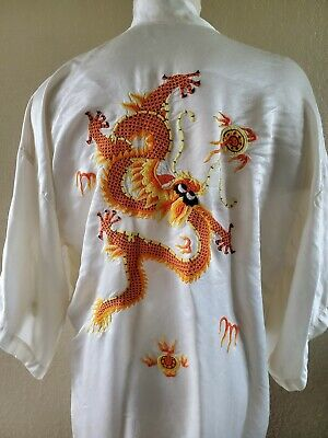 Vintage Golden Dragon Silk Kimono Robe Embroidered China Medium